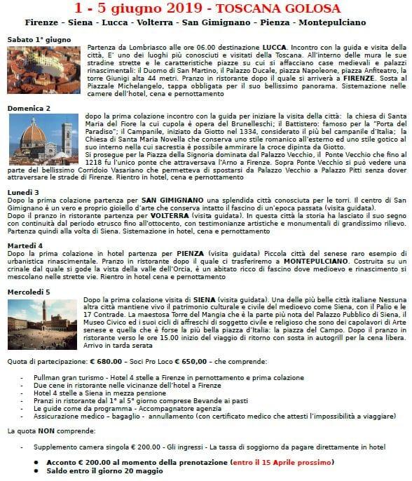 Programma Toscana golosa